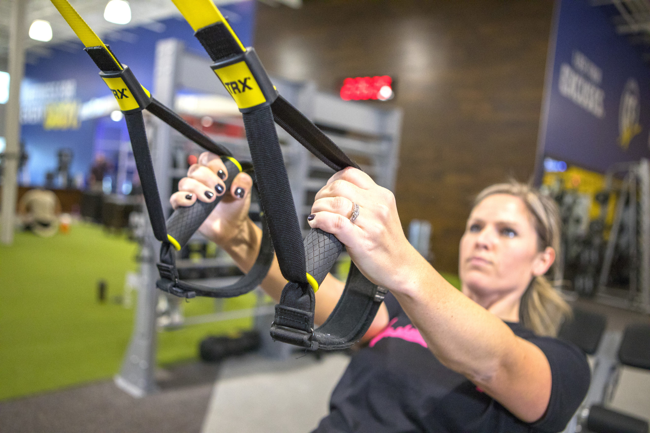 Woman working out on an exercise machine